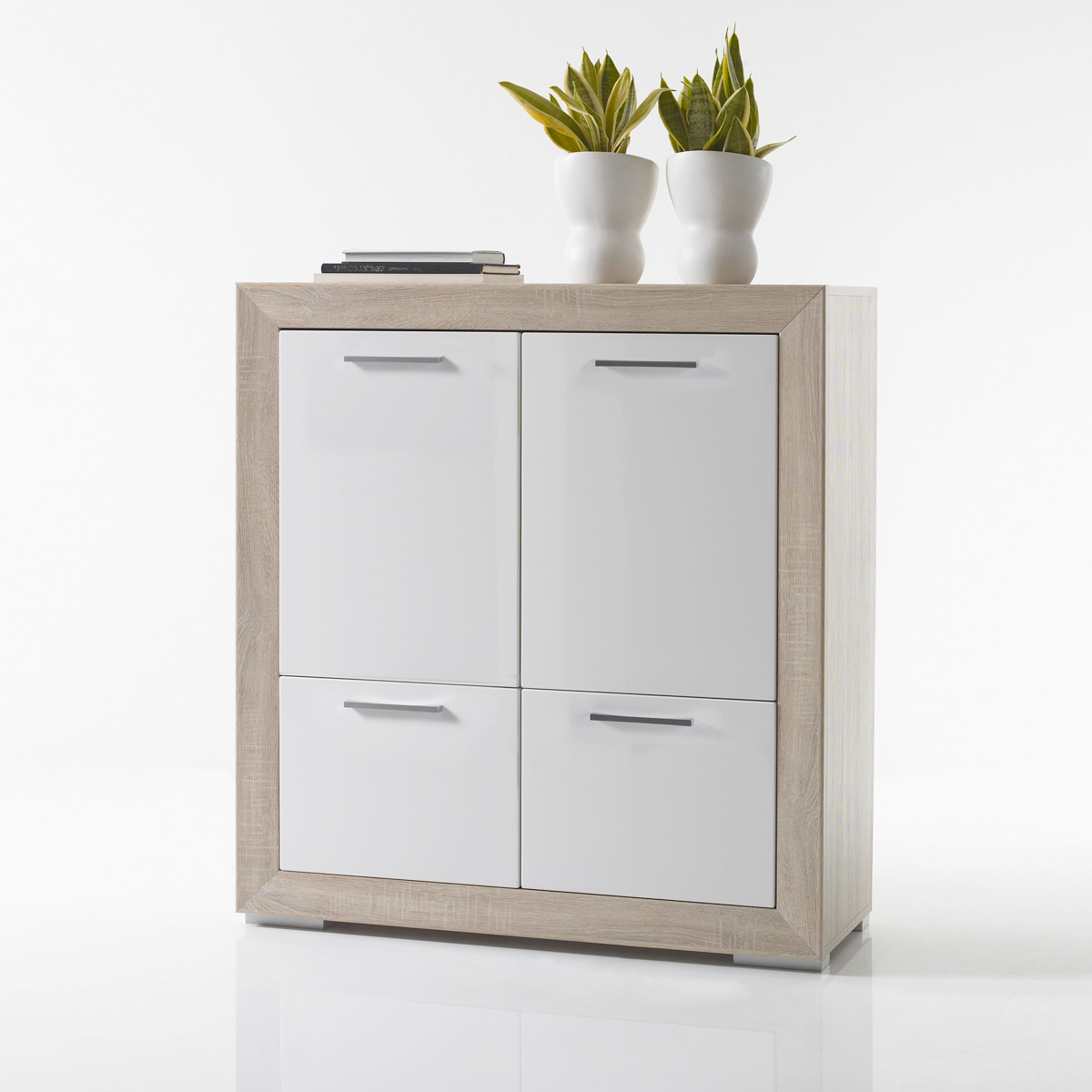 kommode fernando schrank sideboard in sonoma eiche wei hochglanz ebay. Black Bedroom Furniture Sets. Home Design Ideas
