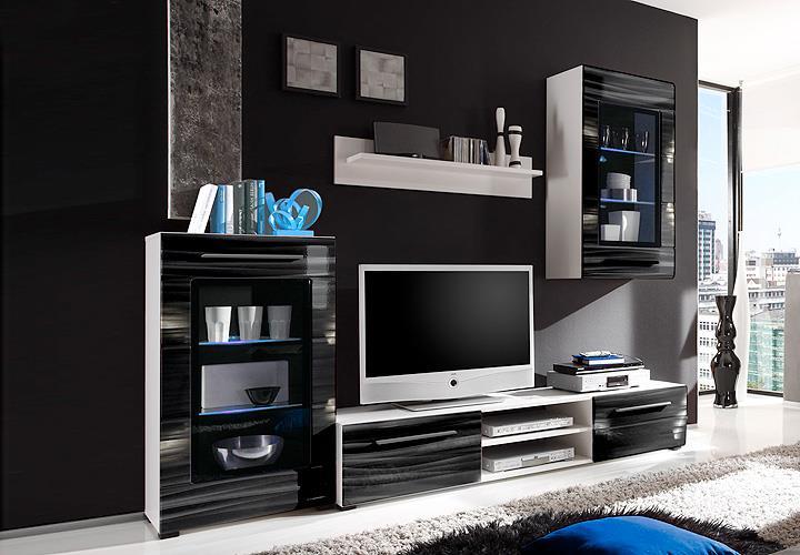 Wohnwand Sahara Anbauwand Wohnzimmer in schwarz und weiß mit 3D ...