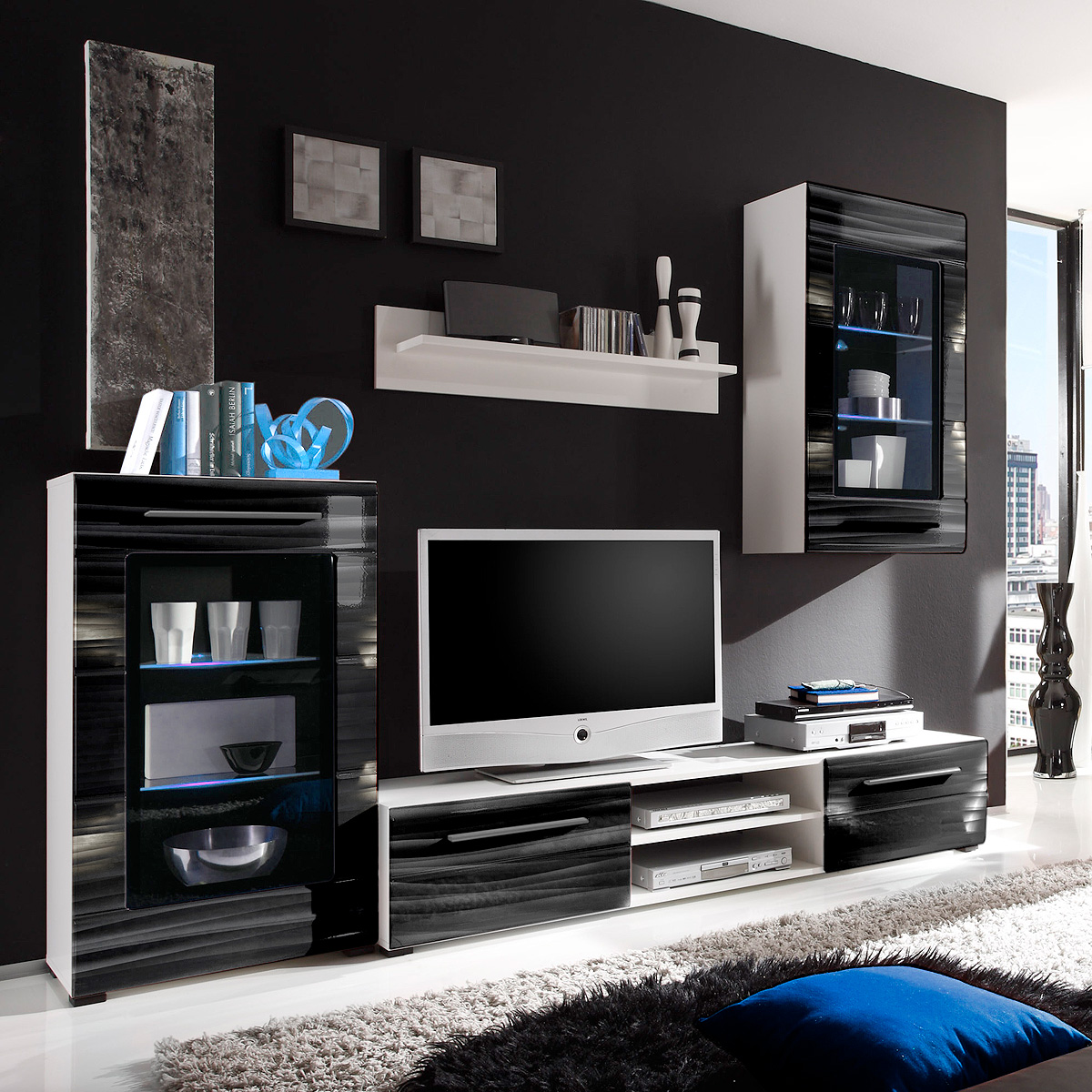 wohnwand sahara anbauwand wohnzimmer in schwarz und wei mit 3d folie und led ebay. Black Bedroom Furniture Sets. Home Design Ideas