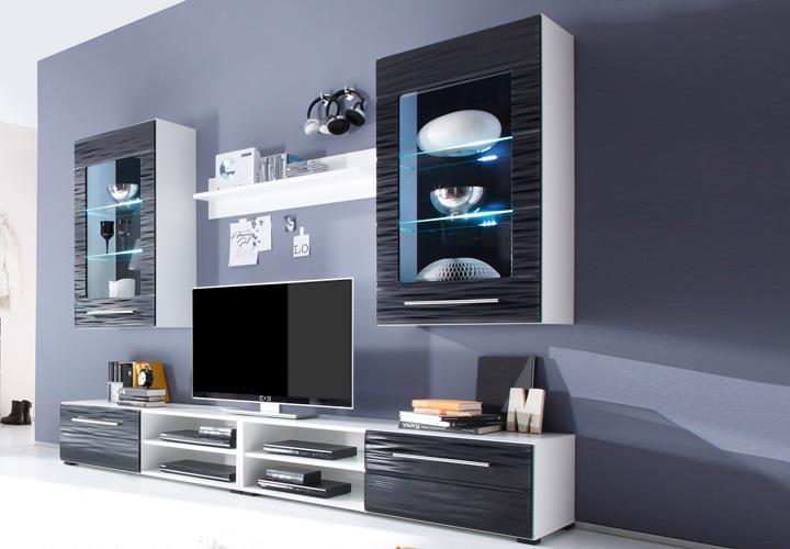 Wohnwand 2 Sahara Anbauwand Wohnzimmer in schwarz und weiß mit 3D ...