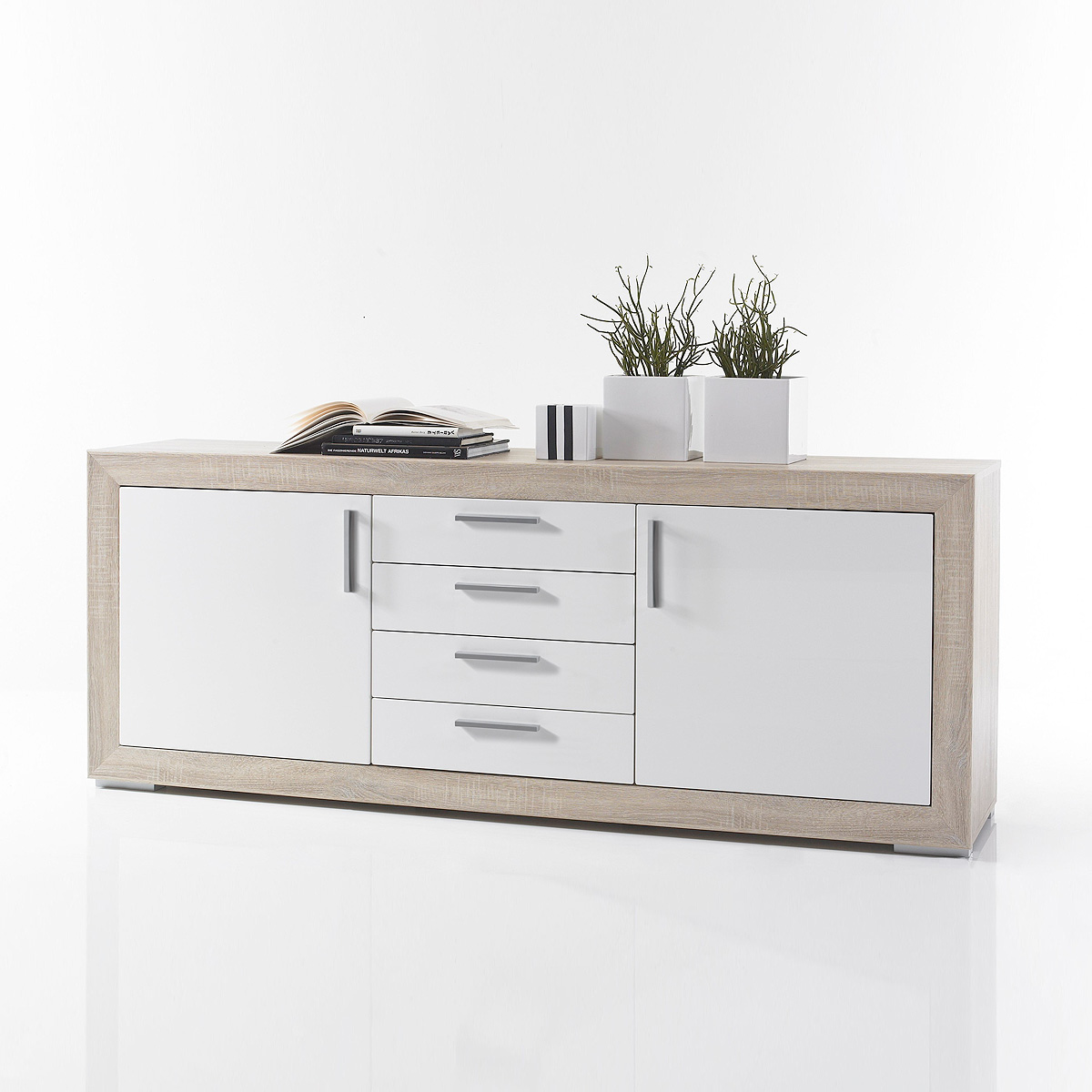 sideboard fernando kommode anrichte schrank sonoma eiche wei hochglanz ebay. Black Bedroom Furniture Sets. Home Design Ideas