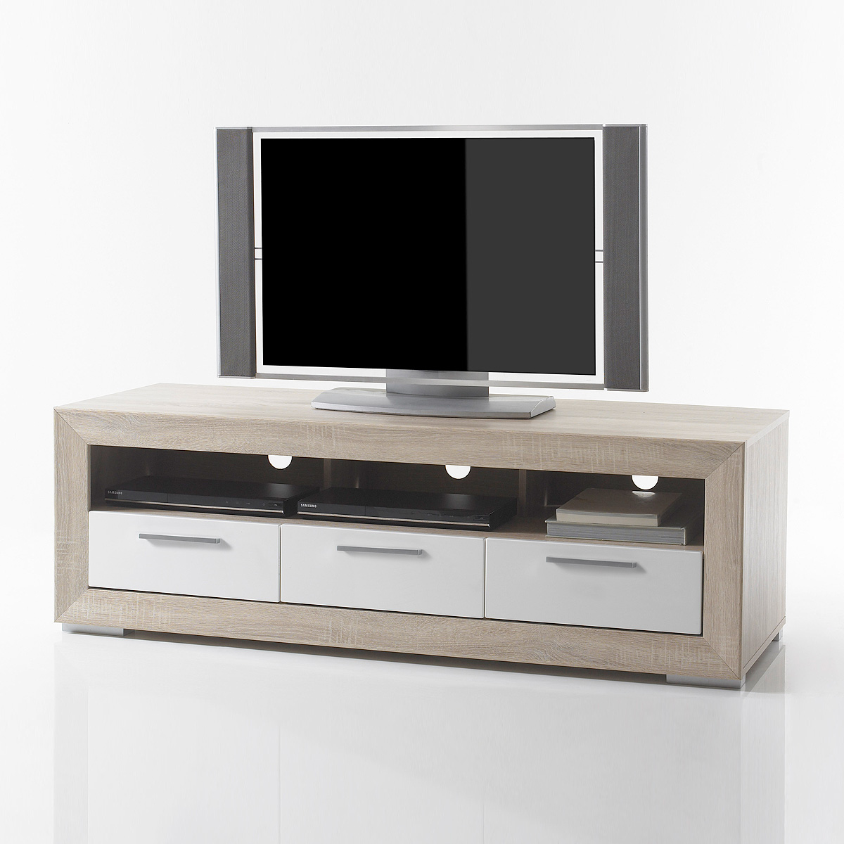 tv board 2 fernando lowboard unterschrank sonoma eiche wei hochglanz ebay. Black Bedroom Furniture Sets. Home Design Ideas