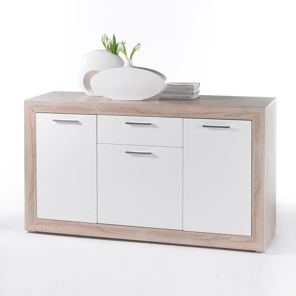 sideboard 2 fernando kommode anrichte schrank sonoma eiche wei hochglanz ebay. Black Bedroom Furniture Sets. Home Design Ideas
