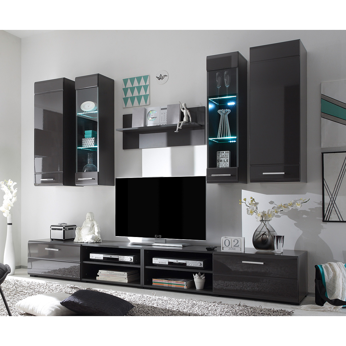 wohnwand force anbauwand wohnzimmer wohnkombi in lava hochglanz inkl led ebay. Black Bedroom Furniture Sets. Home Design Ideas