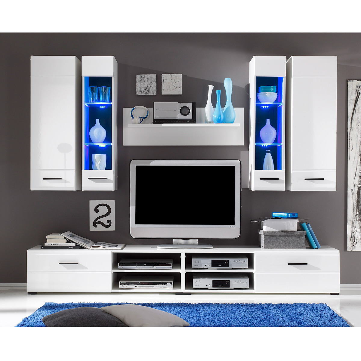 wohnwand force anbauwand wohnzimmer wohnkombi in wei hochglanz inkl led ebay. Black Bedroom Furniture Sets. Home Design Ideas