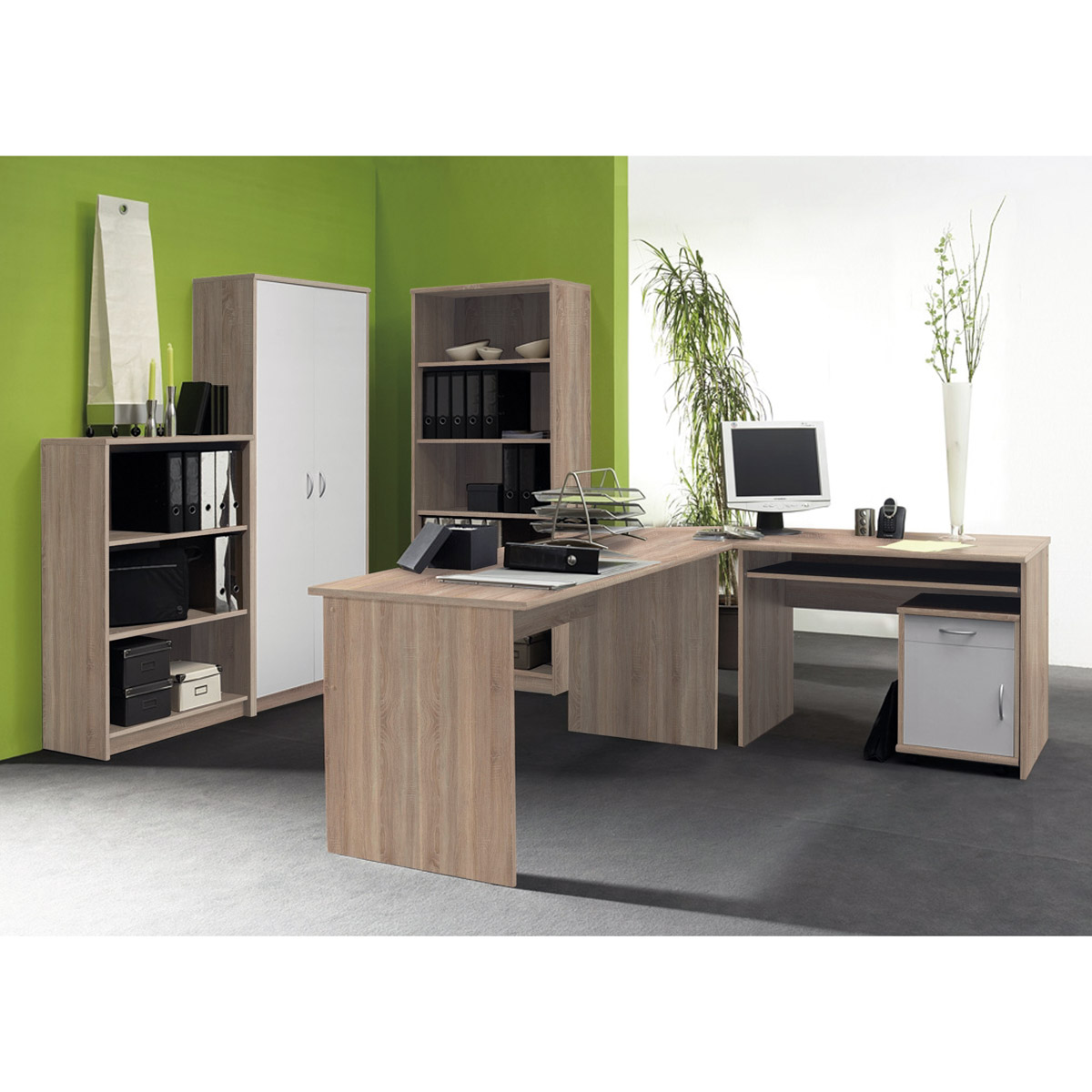 b ro office compact komplettset in walnuss sonoma eiche betonoptik wei 5 teilig ebay. Black Bedroom Furniture Sets. Home Design Ideas