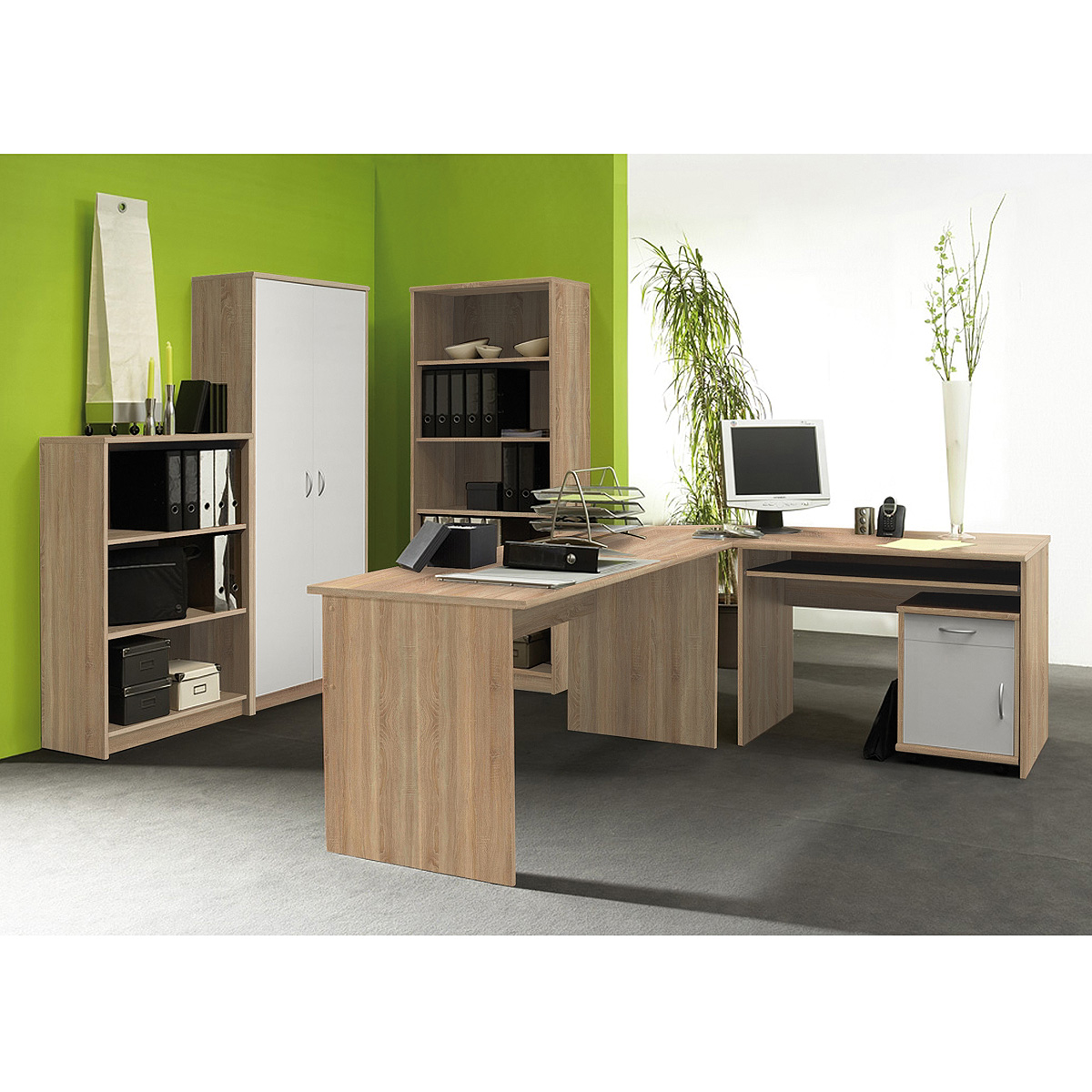 b roset office compact b roprogramm b ro schreibtisch regal in sonoma eiche wei ebay. Black Bedroom Furniture Sets. Home Design Ideas