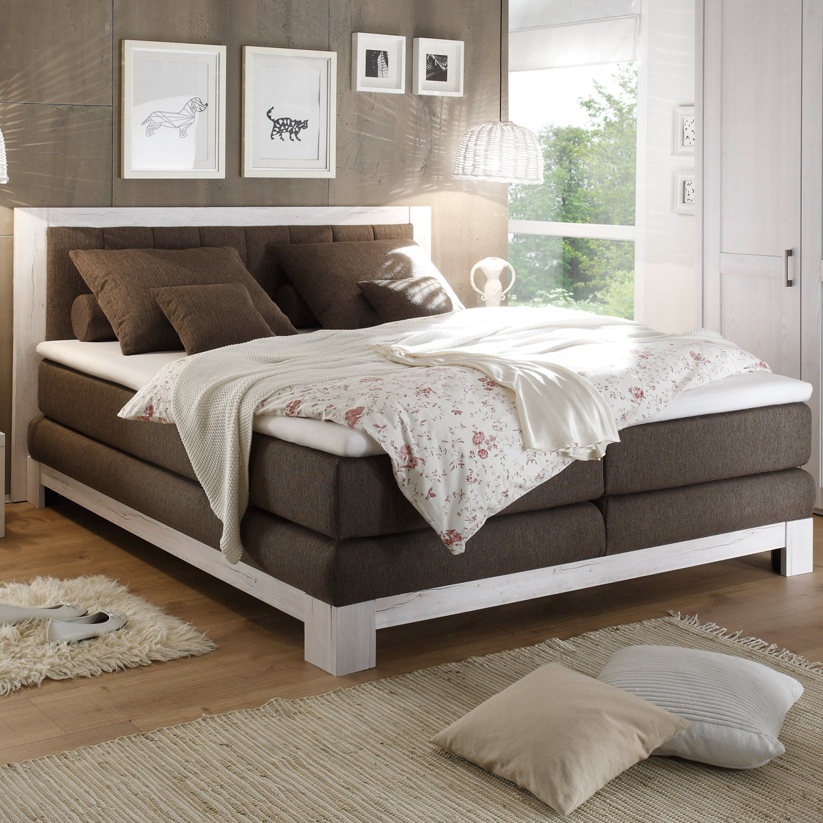 boxspring bett nevada pinie wei bezug stone ttfk matratze 180x200 cm ebay. Black Bedroom Furniture Sets. Home Design Ideas