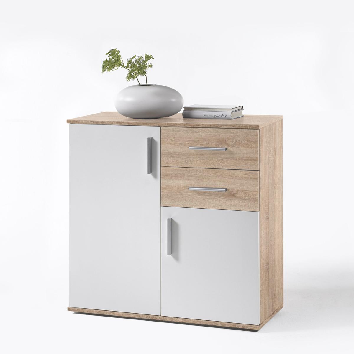 kommode bobby 4 flur wohnzimmer schrank 2 t rig sonoma eiche und wei ebay. Black Bedroom Furniture Sets. Home Design Ideas