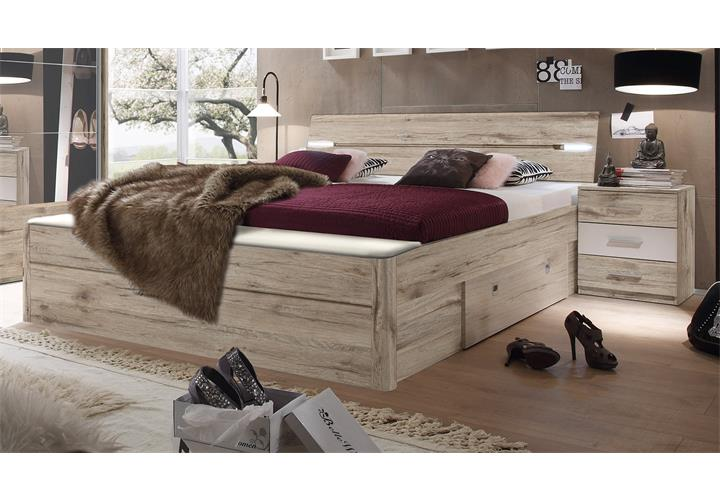 bettanlage mars doppelbett mit led nachtkommoden. Black Bedroom Furniture Sets. Home Design Ideas