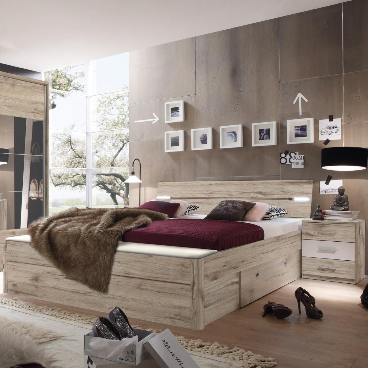 bettanlage mars xl bett nachtkommode sandeiche wei inkl led und bettkasten eur 329 95. Black Bedroom Furniture Sets. Home Design Ideas