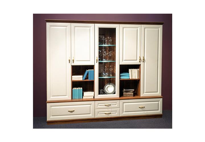 wohnwand elegant anbauwand wei und walnuss ink led beleuchtung eur 199 95 picclick de. Black Bedroom Furniture Sets. Home Design Ideas