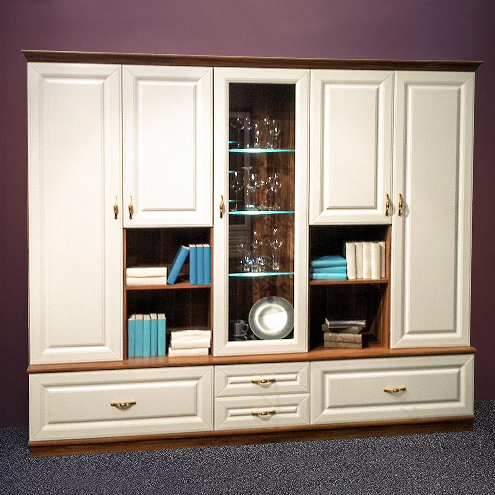 wohnwand elegant wohnzimmer anbauwand wei und walnuss mit. Black Bedroom Furniture Sets. Home Design Ideas