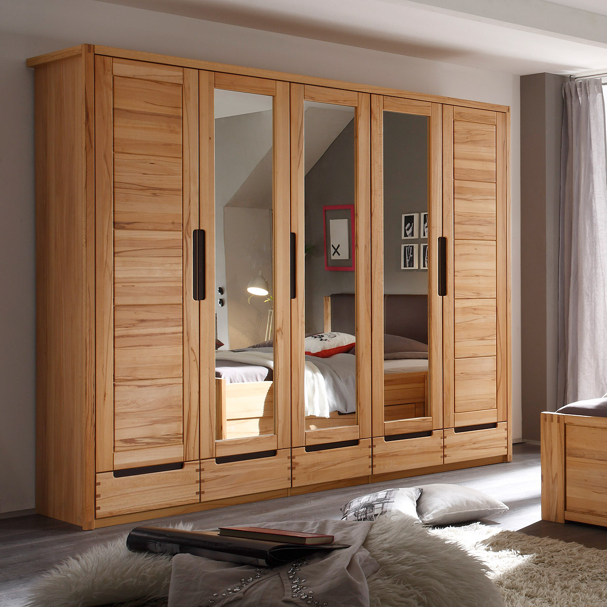 kleiderschrank colorado schrank schlafzimmerschrank kernbuche teilmassiv spiegel ebay. Black Bedroom Furniture Sets. Home Design Ideas