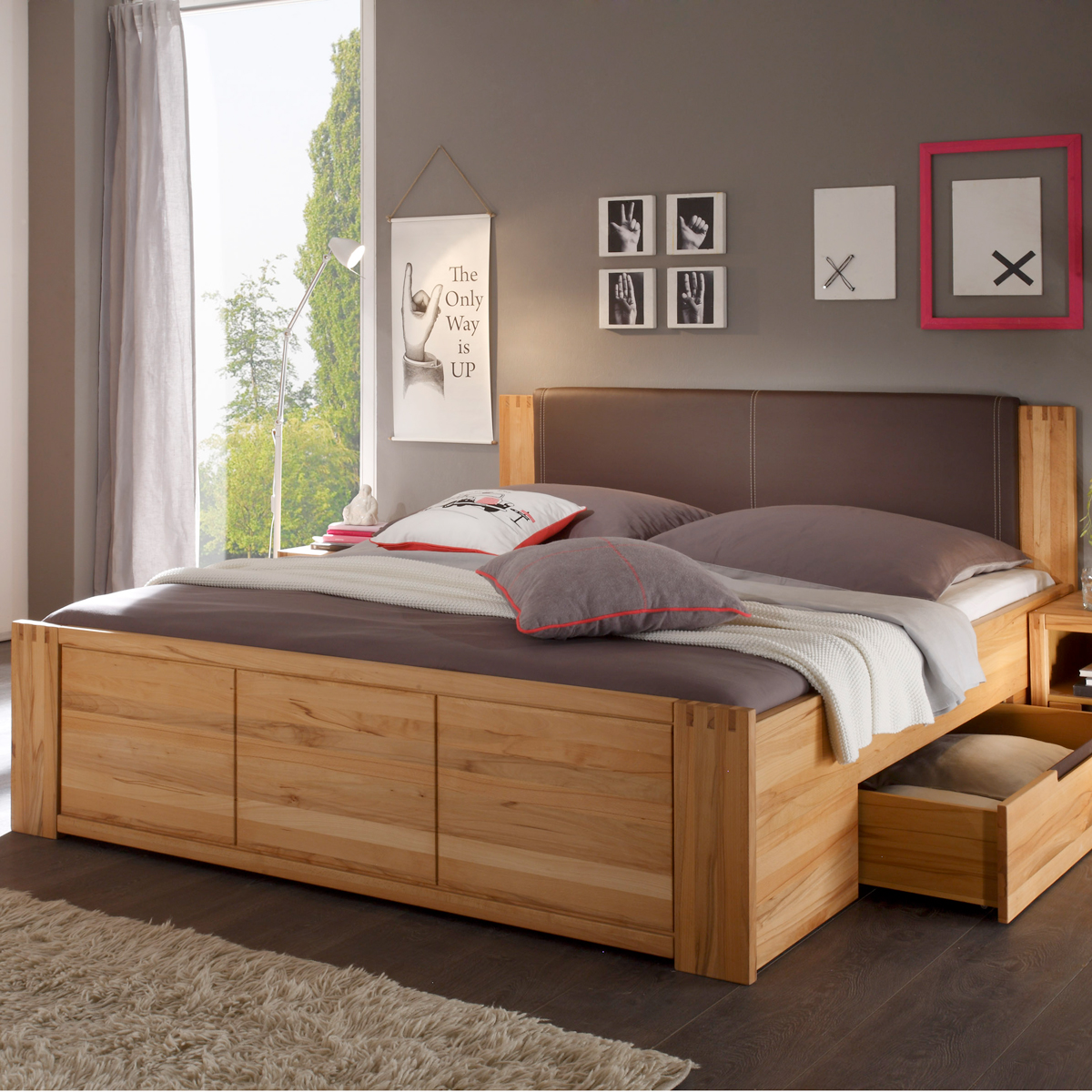 holzbett massivholzbett doppelbett massiv kernbuche bett cassetta 180x200 neu ebay. Black Bedroom Furniture Sets. Home Design Ideas