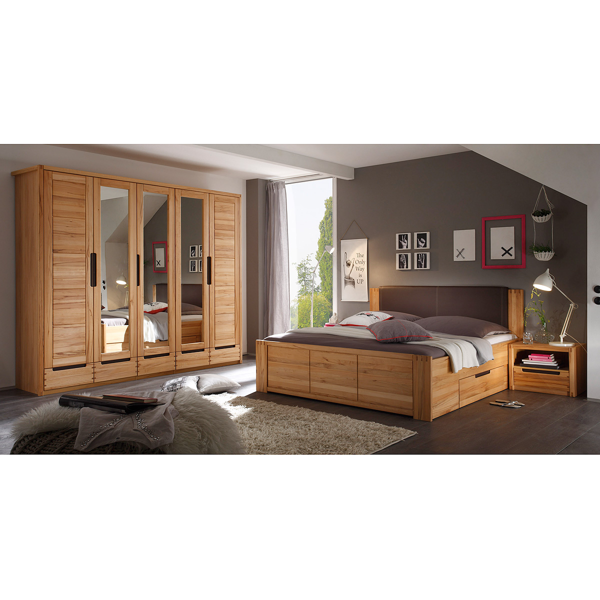 schlafzimmer colorado schrank bett nako set kernbuche. Black Bedroom Furniture Sets. Home Design Ideas