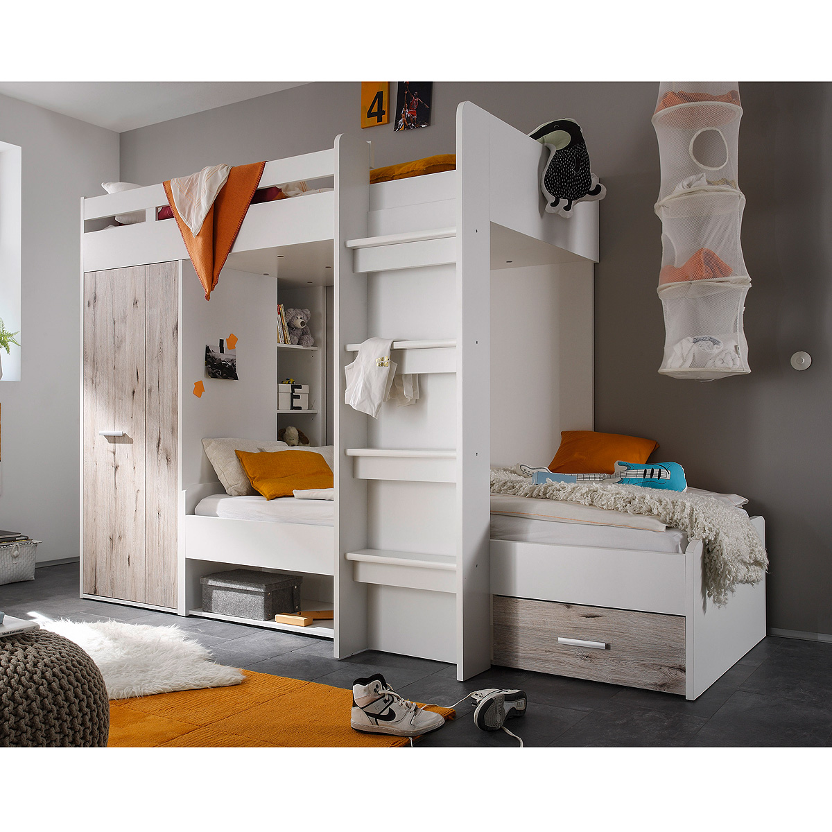hochbett maxi kinderbett etagenbett kinderzimmerbett bett wei sandeiche 90x200 ebay. Black Bedroom Furniture Sets. Home Design Ideas