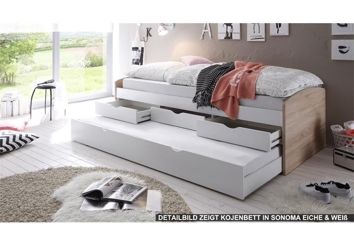 kojenbett nessi bett kinderbett hochbett wei sandeiche 2 liegefl chen 90x200 ebay. Black Bedroom Furniture Sets. Home Design Ideas