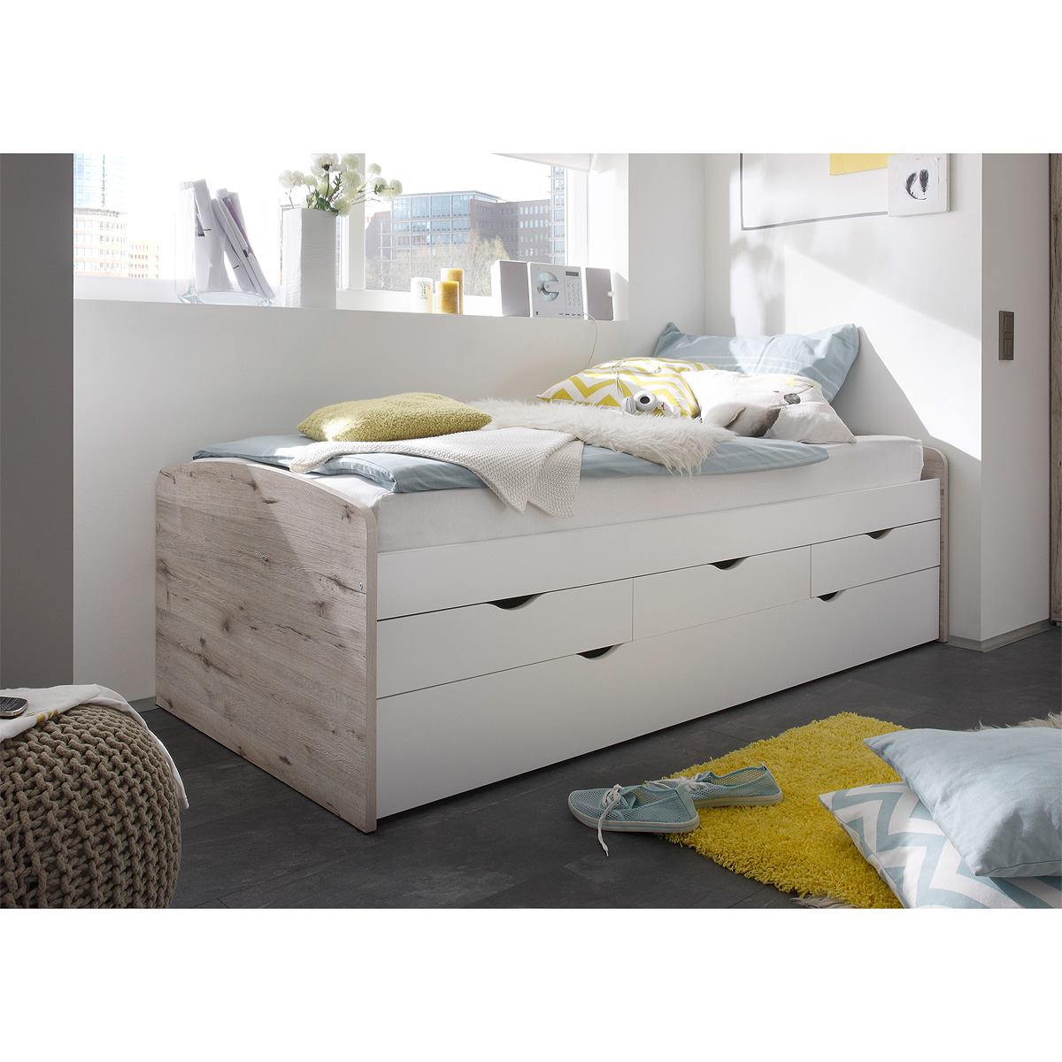 bett kinderbett hochbett wei sandeiche 2 liegefl chen 90x200 ebay. Black Bedroom Furniture Sets. Home Design Ideas