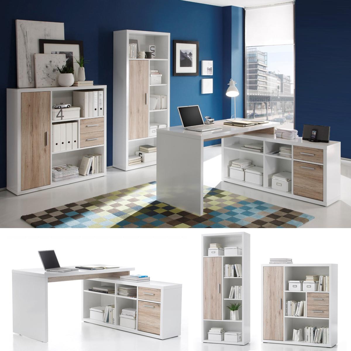 Büromöbel Tokyo 3-teilig Regal Highboard Schreibtisch glanz-weiß ...