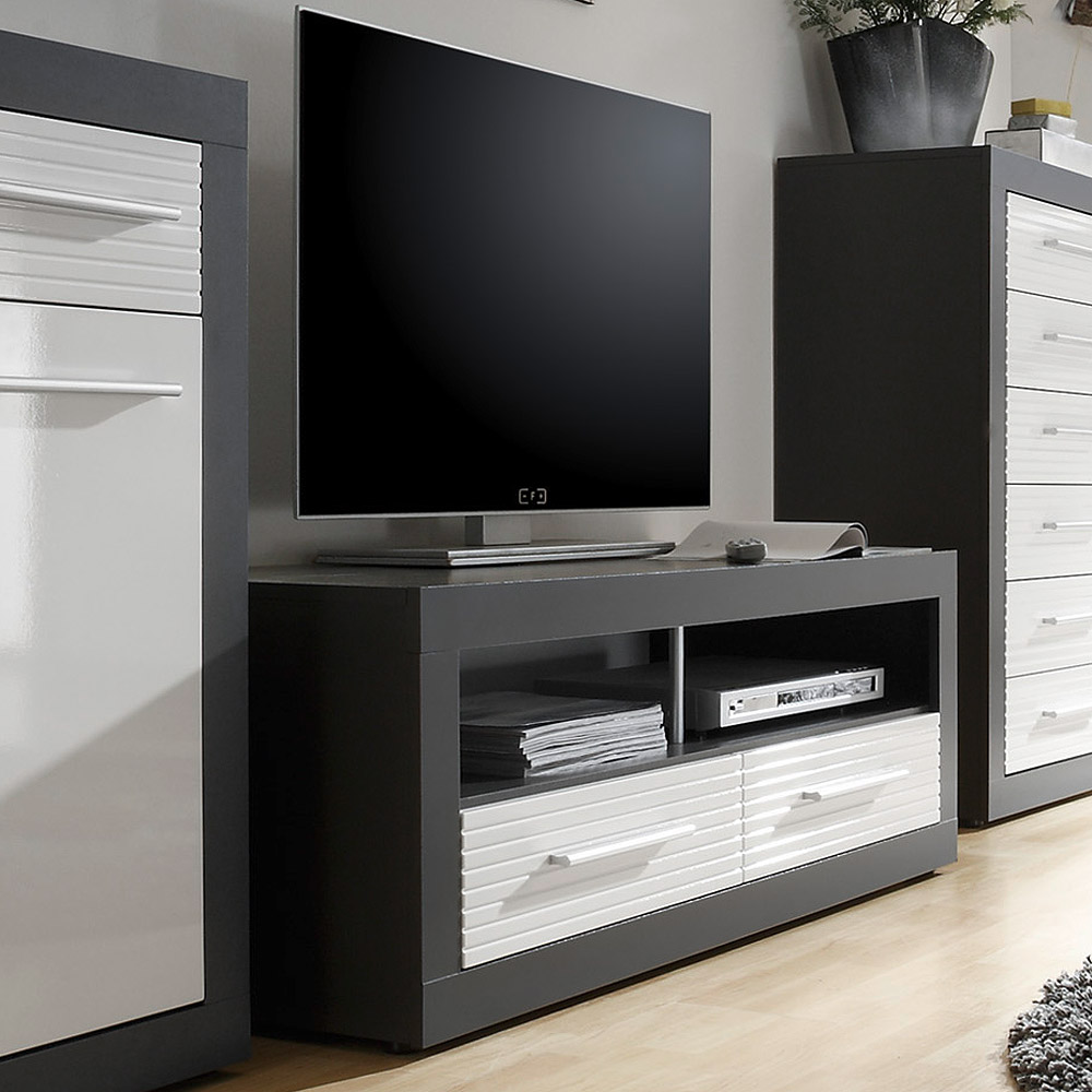 tv board lowboard kolibri 5 tv schrank mdf wei hochglanz und grau breite 120 cm ebay. Black Bedroom Furniture Sets. Home Design Ideas