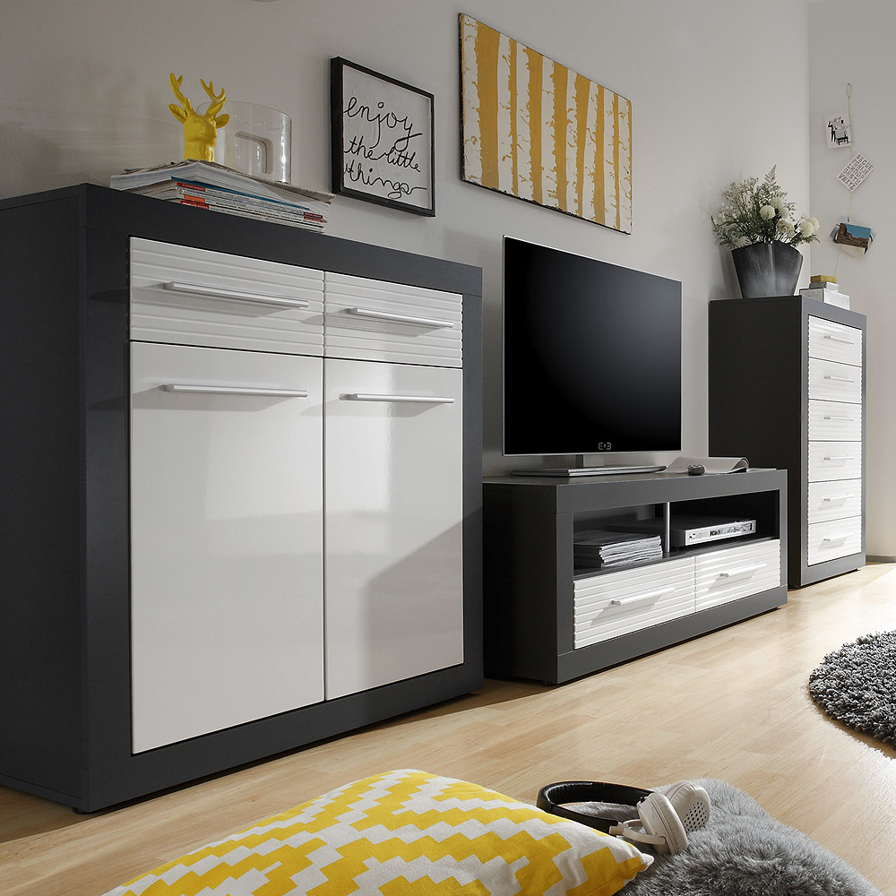 wohnkombi kolibri anbauwand wohnzimmer mdf wei hochglanz. Black Bedroom Furniture Sets. Home Design Ideas