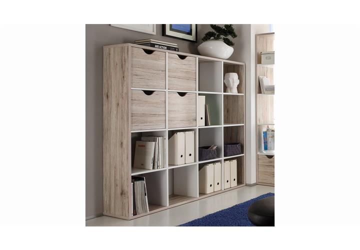 raumteiler quadros 4 4 regal b ro sandeiche und wei inkl. Black Bedroom Furniture Sets. Home Design Ideas