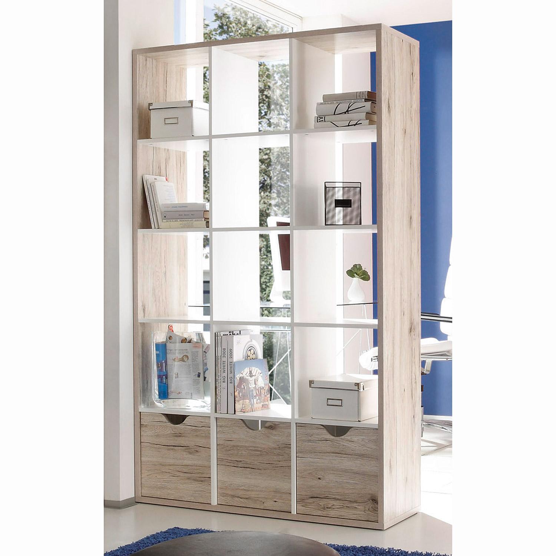 raumteiler quadros 3 5 regal b ro sandeiche und wei inkl. Black Bedroom Furniture Sets. Home Design Ideas