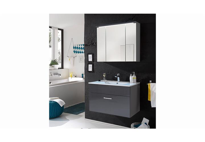 badezimmer set splashi grau spiegelschrank unterschrank. Black Bedroom Furniture Sets. Home Design Ideas