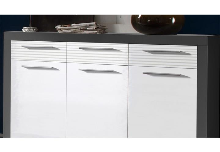 sideboard kolibri kommode schrank mdf wei hochglanz und grau ebay. Black Bedroom Furniture Sets. Home Design Ideas