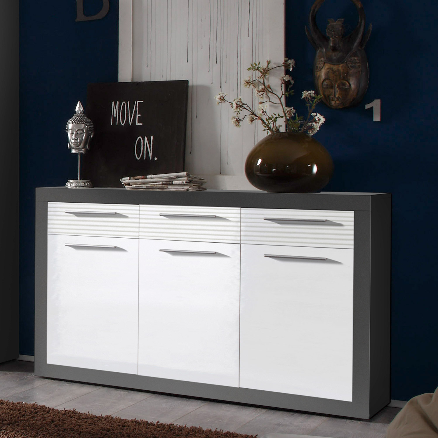 sideboard kolibri kommode schrank mdf wei hochglanz und grau ebay. Black Bedroom Furniture Sets. Home Design Ideas