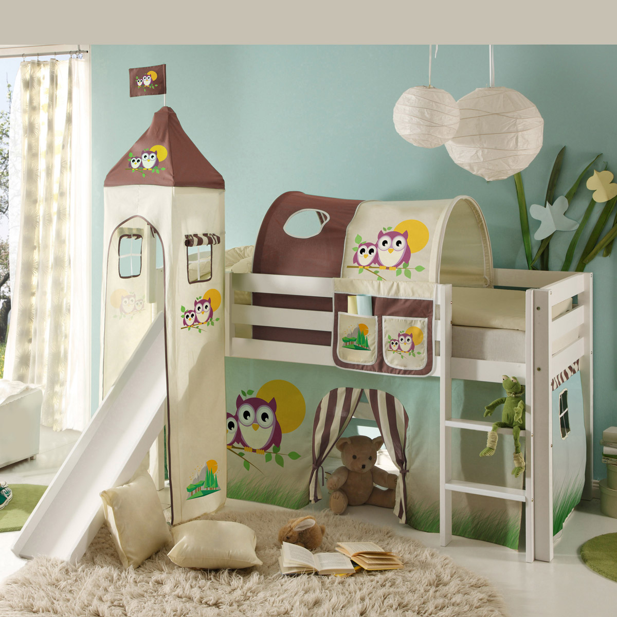 hochbett mit rutsche snoopy kinderzimmer bett 90x200. Black Bedroom Furniture Sets. Home Design Ideas