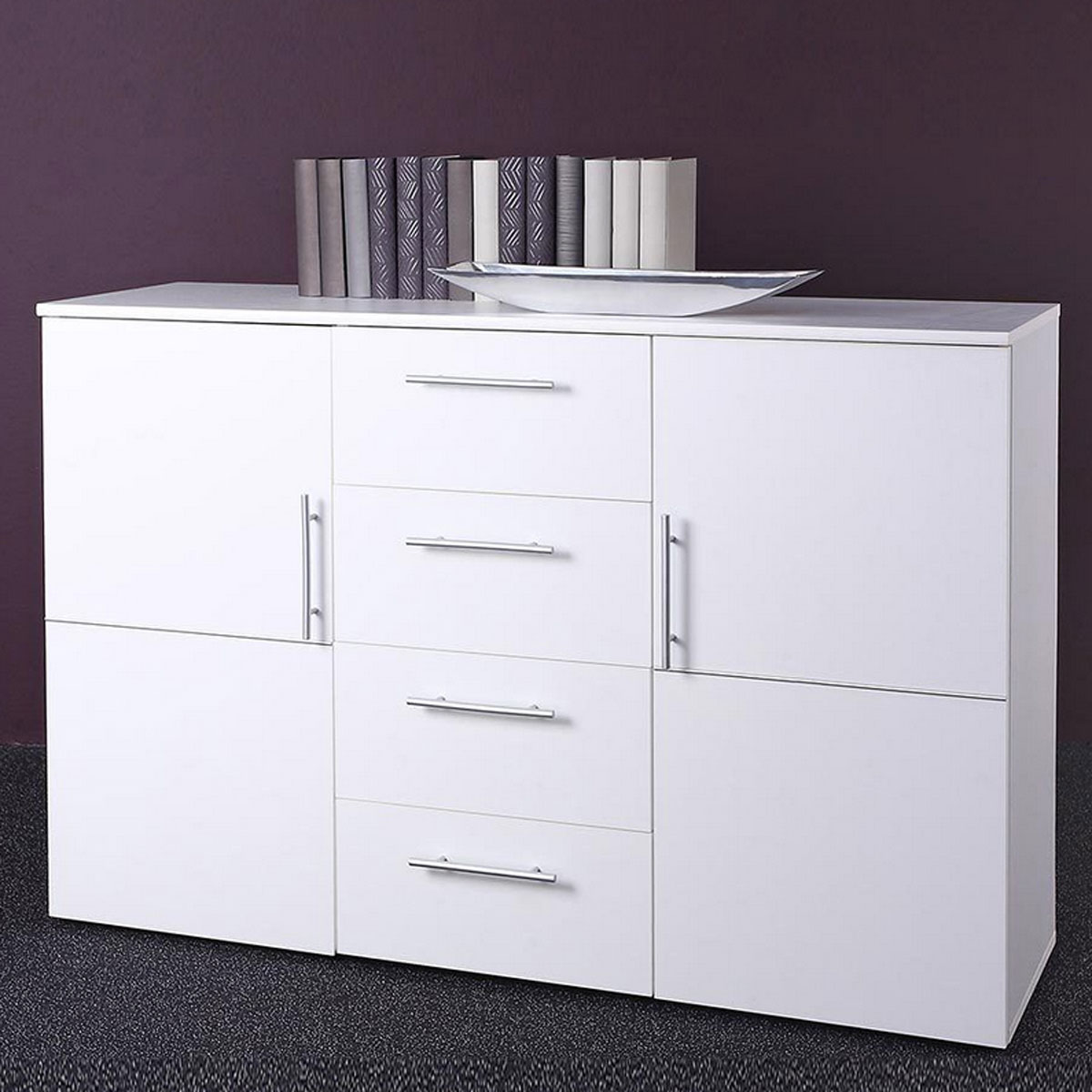 sideboard punto 4 kommode wei 2 t ren 4 schubk sten ebay. Black Bedroom Furniture Sets. Home Design Ideas