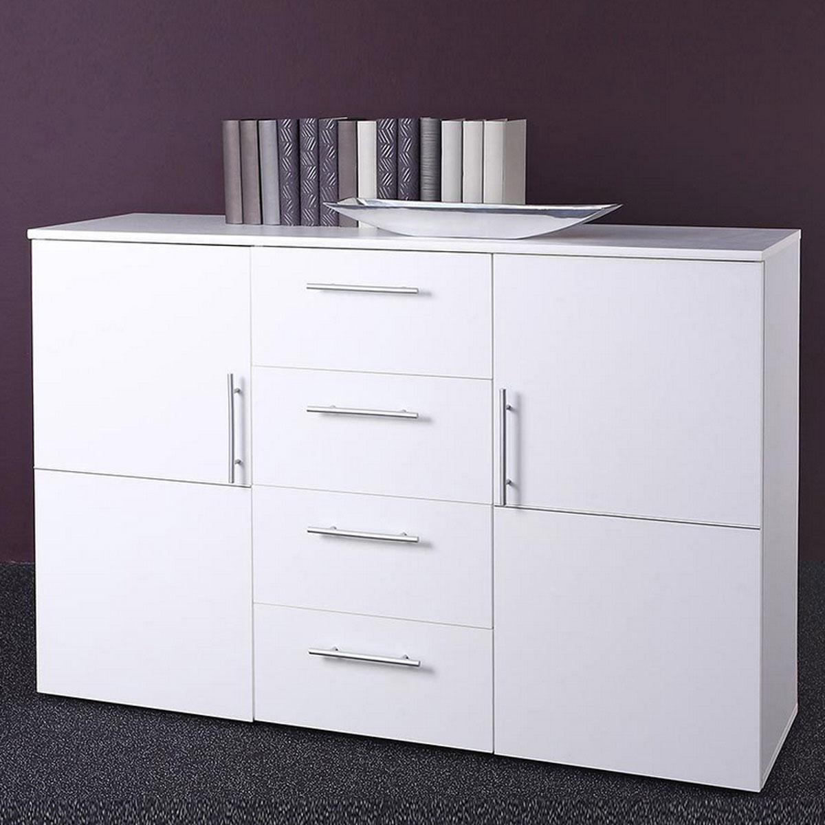 sideboard punto 4 kommode wei 2 t ren 4 schubk sten ebay. Black Bedroom Furniture Sets. Home Design Ideas
