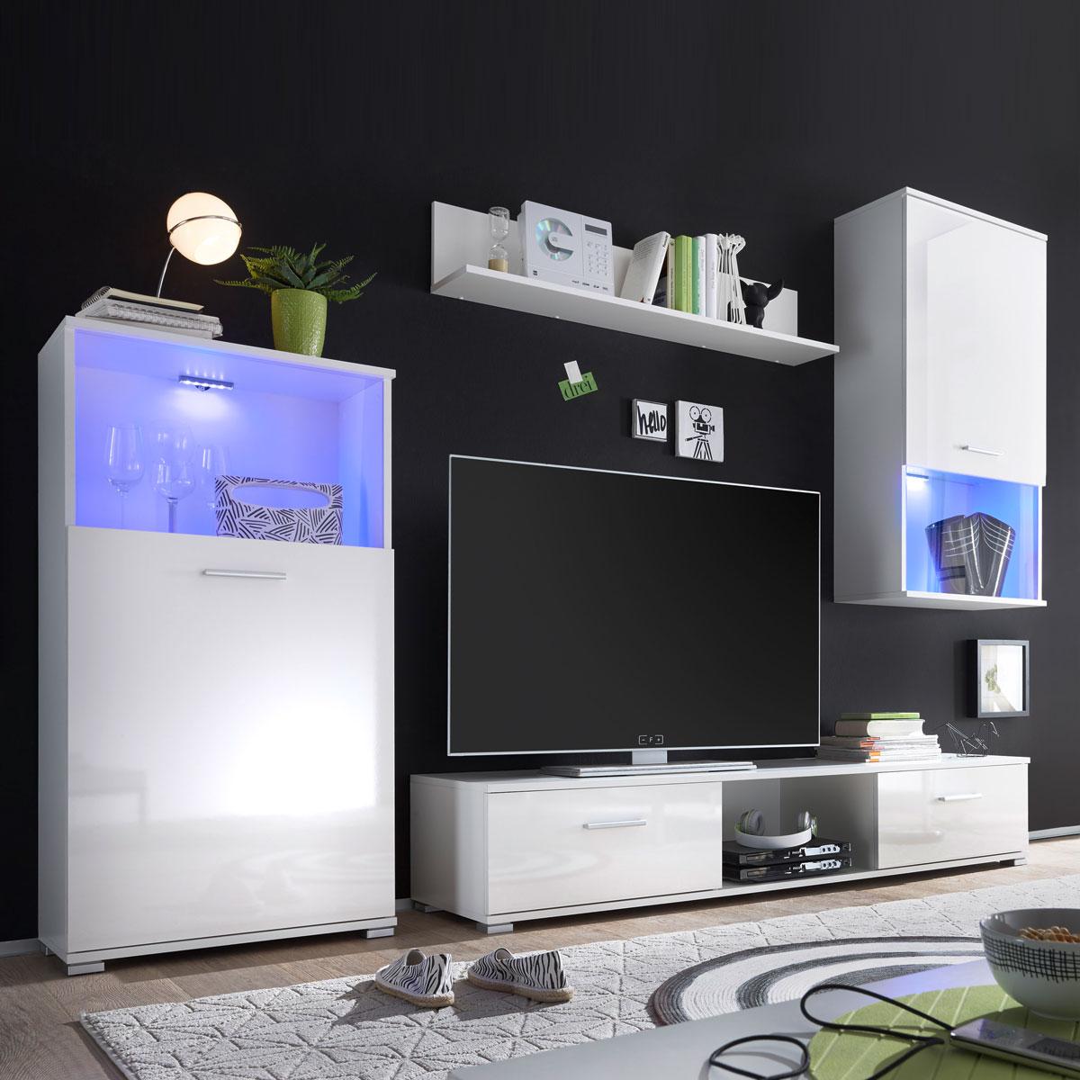 wohnwand lucky lux anbauwand front wei hochglanz vitrinen mit rgb led ebay. Black Bedroom Furniture Sets. Home Design Ideas