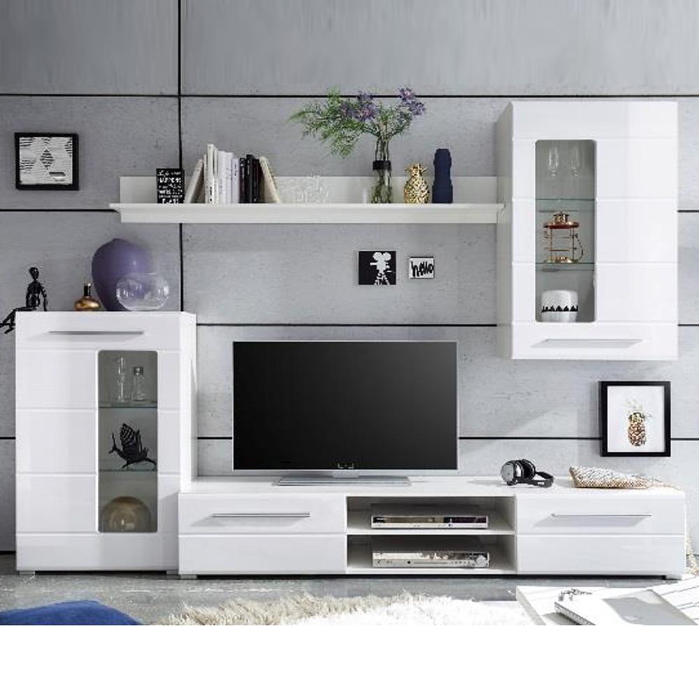 wohnwand enrique 1 wohnzimmer anbauwand front wei hochglanz ebay. Black Bedroom Furniture Sets. Home Design Ideas