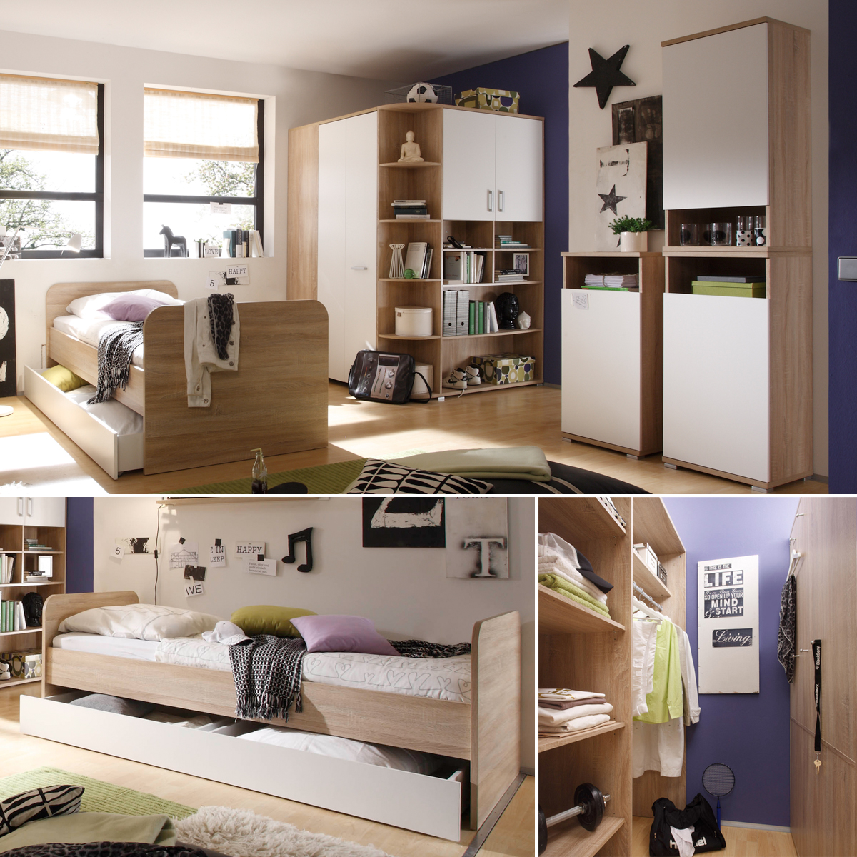 jugendzimmer 5 teilig corner eckschrank jugendbett 3. Black Bedroom Furniture Sets. Home Design Ideas