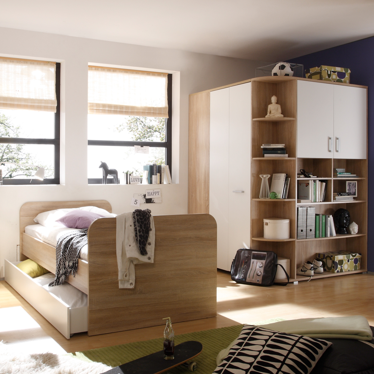 jugendzimmer 2 teilig corner eckkleiderschrank jugendbett 90x200 sonoma eiche ebay. Black Bedroom Furniture Sets. Home Design Ideas