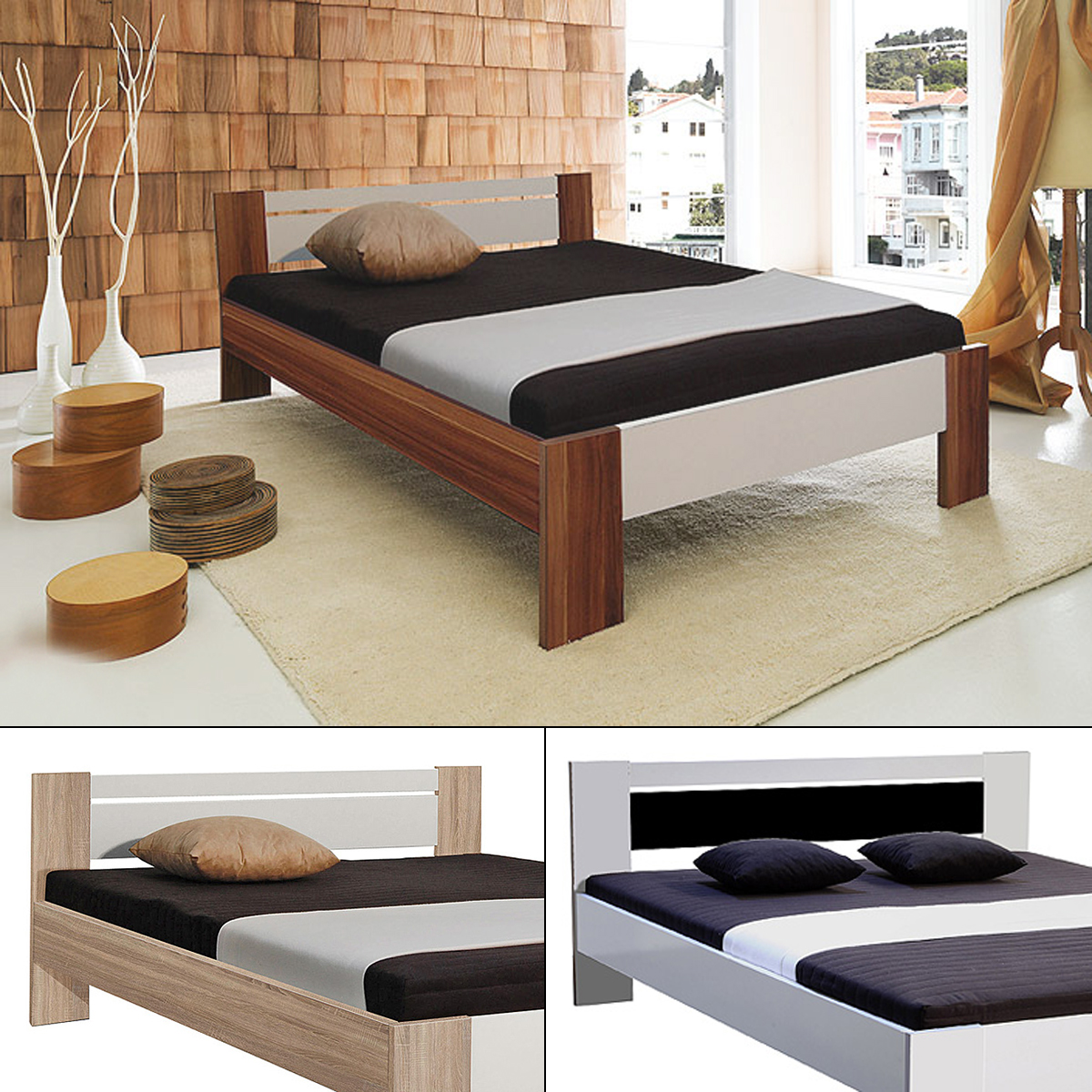 bett vega futonbett mit rollrost und matratze 140x200 cm. Black Bedroom Furniture Sets. Home Design Ideas