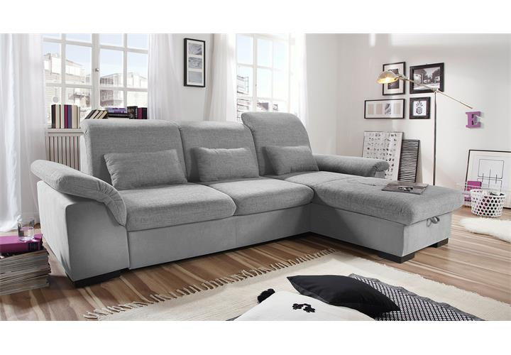 ecksofa brandons sofa wohnlandschaft grau hellgrau mit schlaffunktion bettkasten ebay. Black Bedroom Furniture Sets. Home Design Ideas