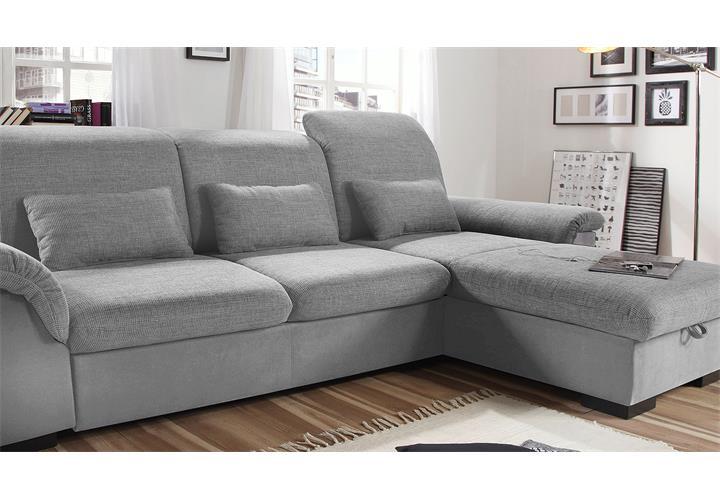 ecksofa brandons sofa wohnlandschaft grau hellgrau mit schlaffunktion bettkasten ebay. Black Bedroom Furniture Sets. Home Design Ideas