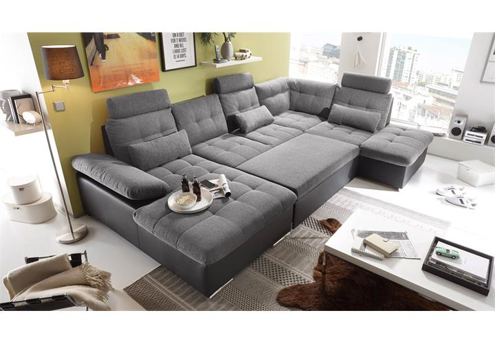 wohnlandschaft rechts jakarta ecksofa sofa in schwarz anthrazit mit funktion ebay. Black Bedroom Furniture Sets. Home Design Ideas