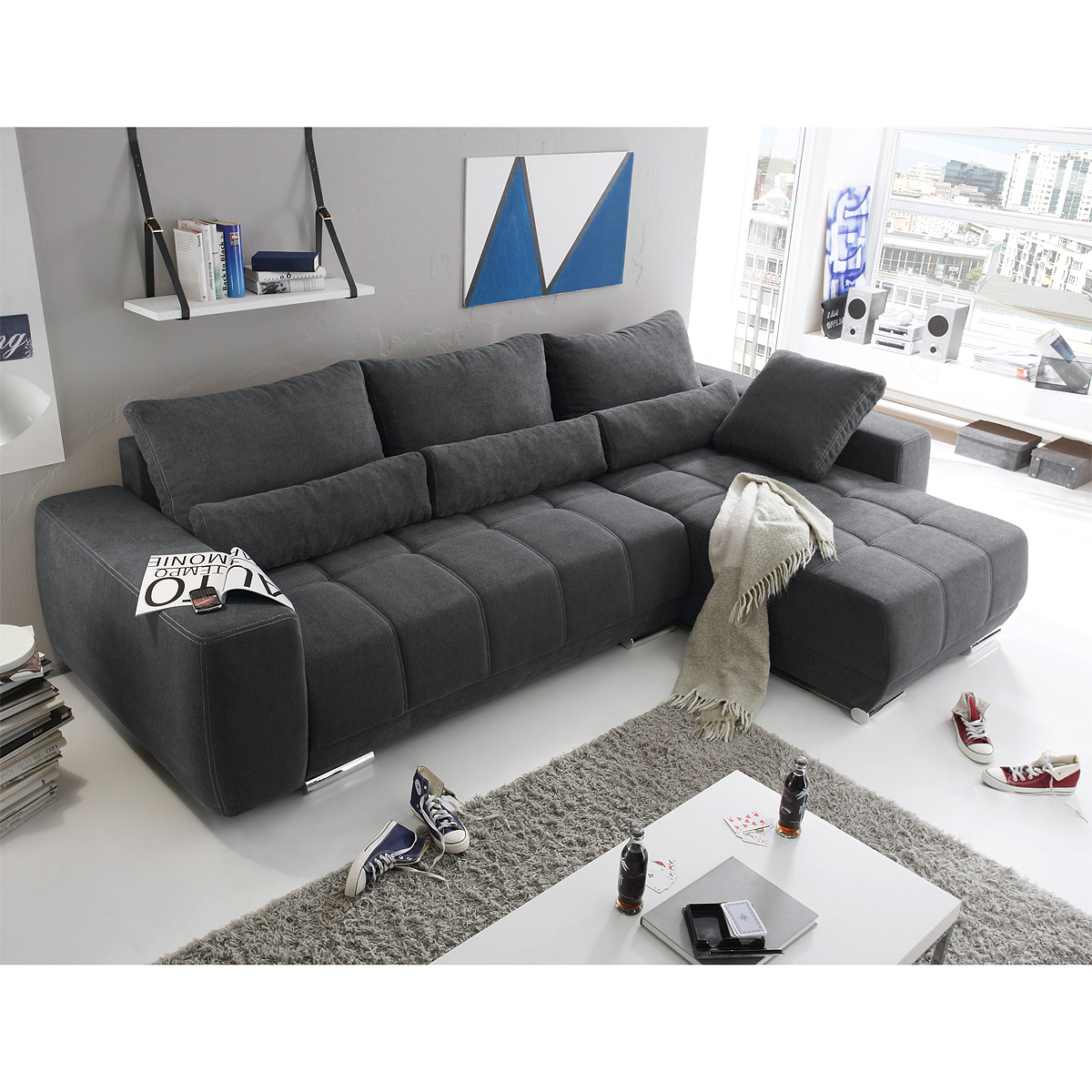 ecksofa lopez sofa wohnlandschaft braun taupe anthrazit. Black Bedroom Furniture Sets. Home Design Ideas