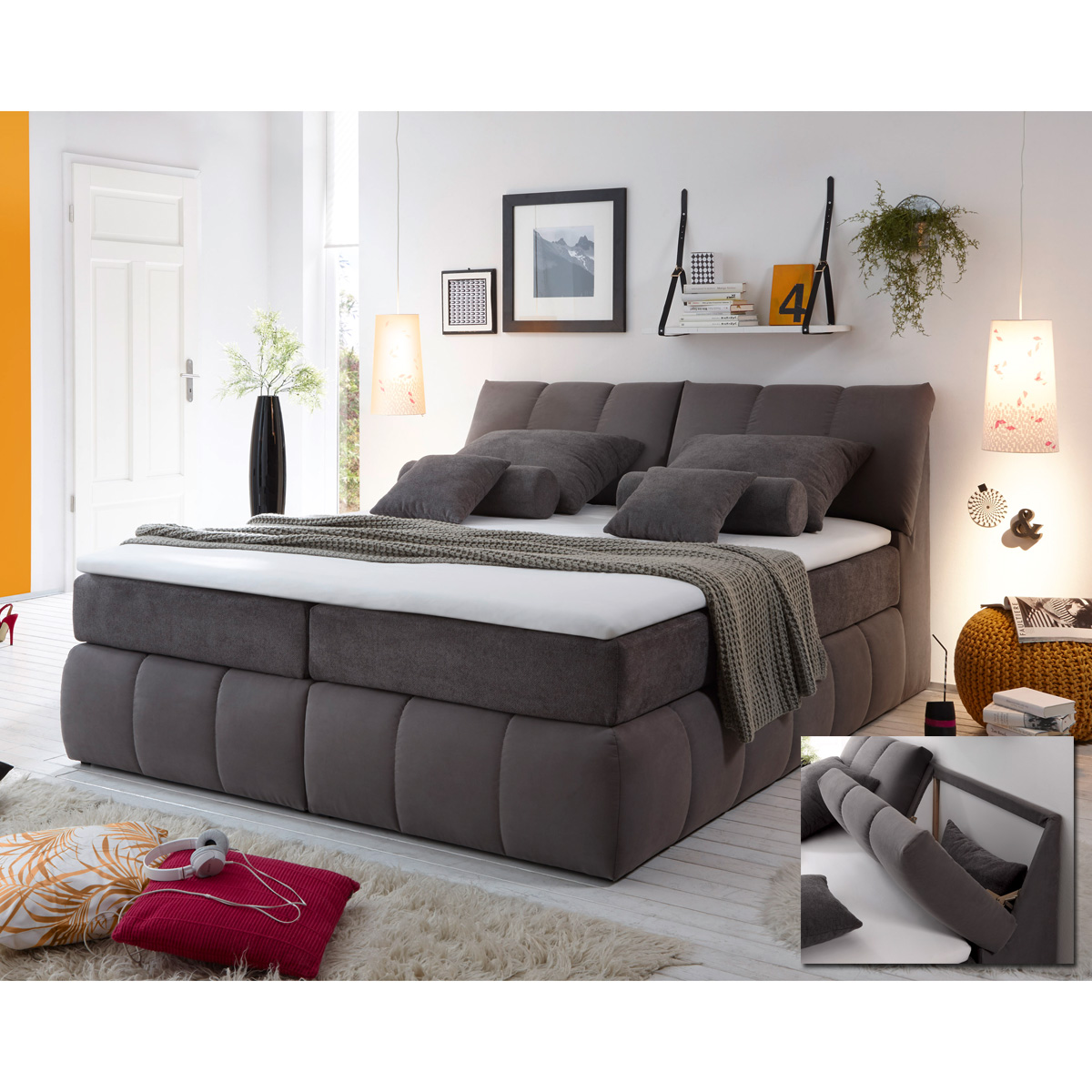 boxspringbett baltimore 1 bett schlafzimmerbett grau dunkelgrau topper 180x200 ebay. Black Bedroom Furniture Sets. Home Design Ideas