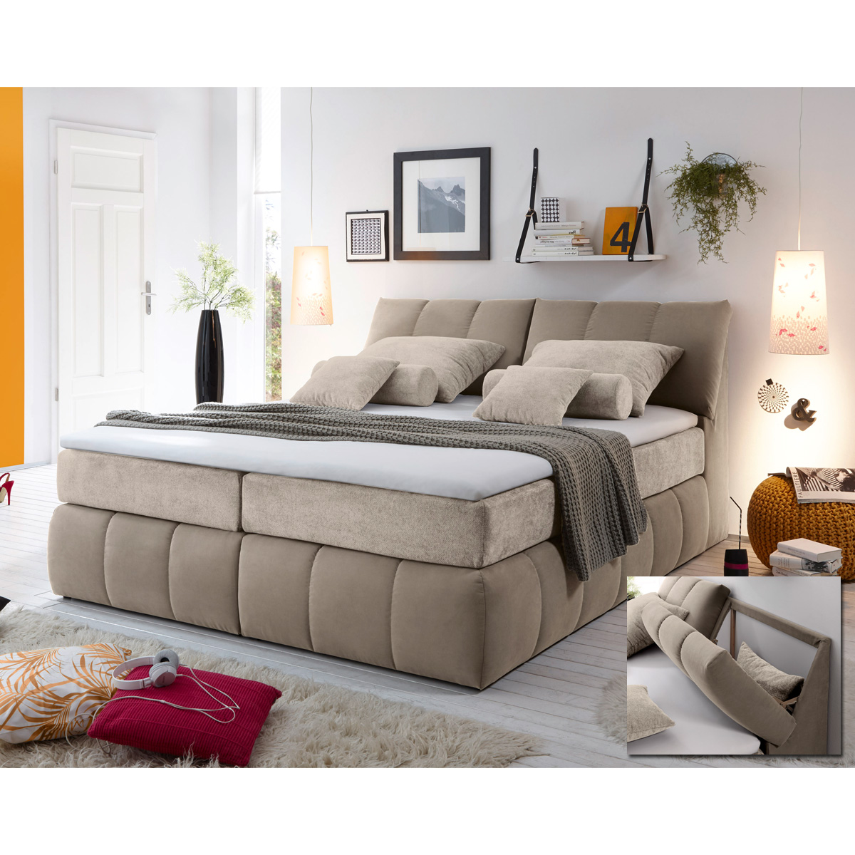 boxspringbett baltimore 1 bett schlafzimmerbett beige und braun topper 180x200 ebay. Black Bedroom Furniture Sets. Home Design Ideas
