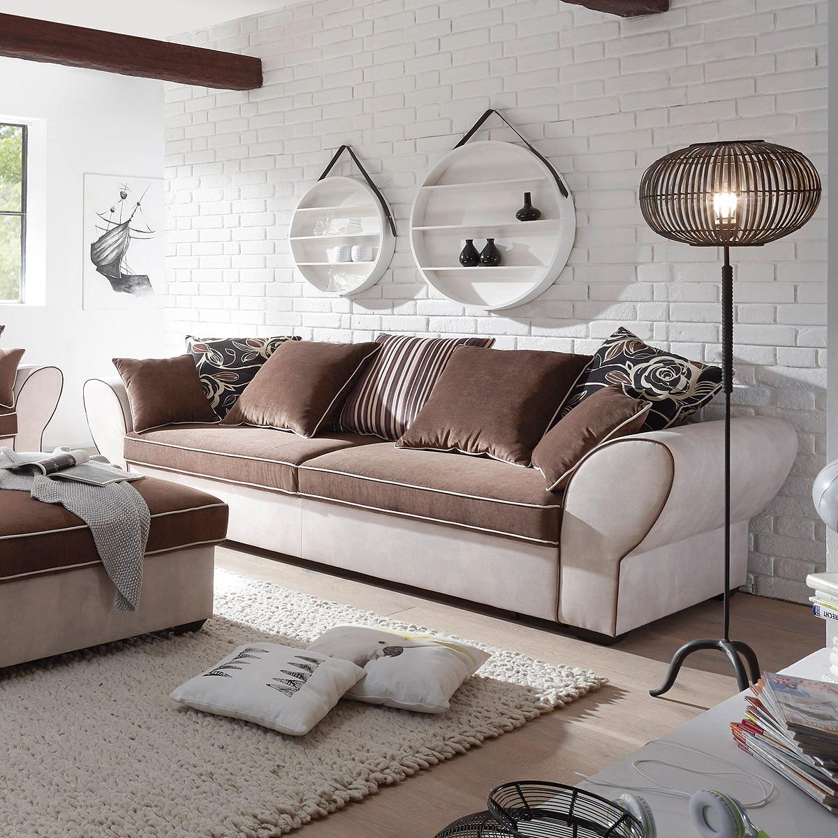 sofa 3 sitzer country polstersofa wohnzimmersofa beige braun mit funktion 267 ebay. Black Bedroom Furniture Sets. Home Design Ideas
