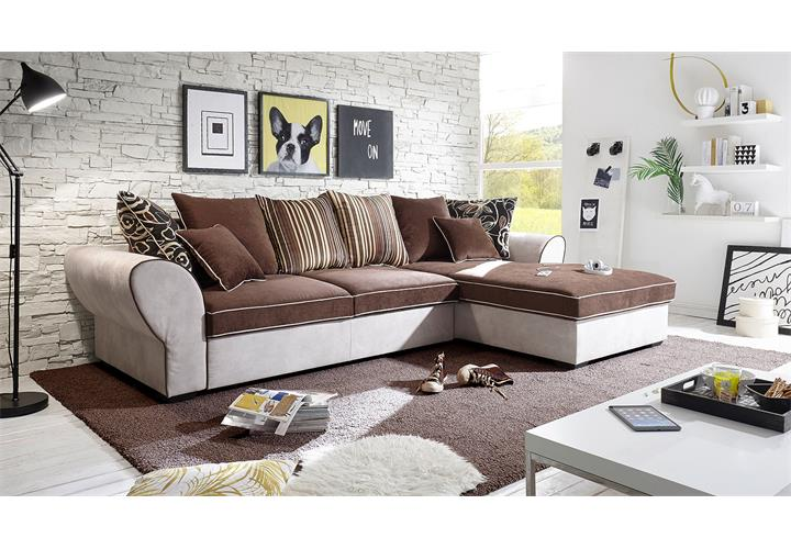 wohnlandschaft country ecksofa sofa polstersofa in beige braun mit funktion ebay. Black Bedroom Furniture Sets. Home Design Ideas