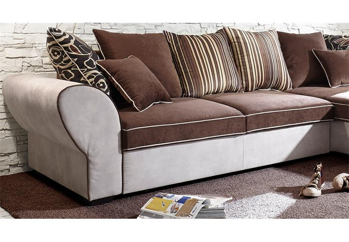 wohnlandschaft country ecksofa sofa polstersofa in beige braun mit funktion eur 768 95. Black Bedroom Furniture Sets. Home Design Ideas