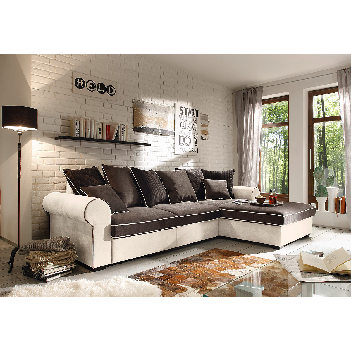 ecksofa canyon wohnlandschaft sofa in braun schwarzbraun beige mit funktion ebay. Black Bedroom Furniture Sets. Home Design Ideas