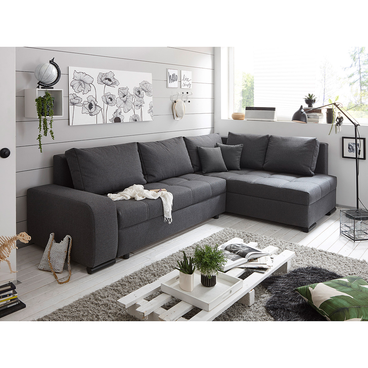 ecksofa lukas wohnlandschaft sofa polsterm bel in anthrazit mit funktion ebay. Black Bedroom Furniture Sets. Home Design Ideas